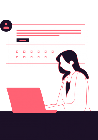 Illustration of a woman working at a computer
