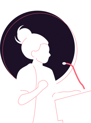 Illustration of a woman speaking at a podium