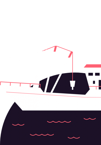 Illustration of a fishing boat